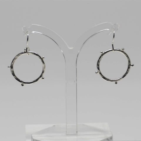 Circle Drop Earrings, Silver