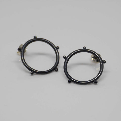 Circle Stud Earrings, Black Oxidised Silver