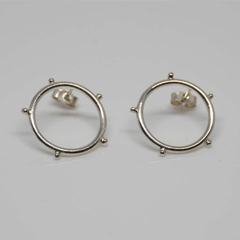 Circle Stud Earrings, Silver