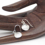 Sterling silver cockle shell drop earrings