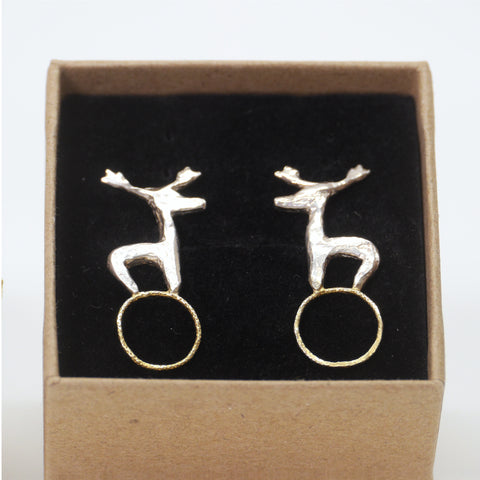 Stag on 22ct Gold Plated Circles Stud Earrings
