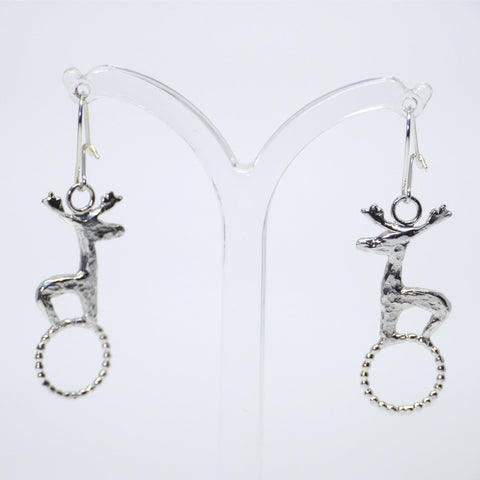 Stag on Circle Drop Earrings