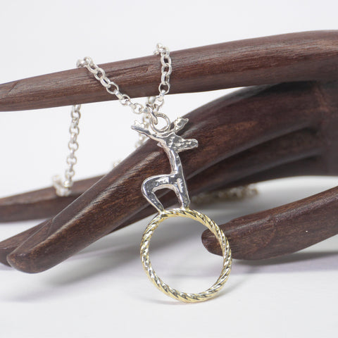 Stag on 22ct Gold Plated Twisted Wire Circle Necklace