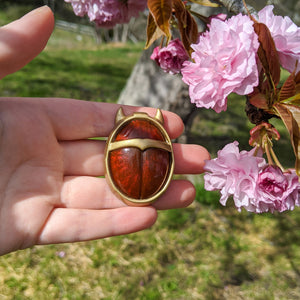 Arcana inspired, Red Beetle courtier brooch pin
