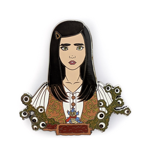 Sarah Williams and Worm enamel Labyrinth pin
