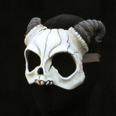 Handmade Resin Skull Mask - Curly Horned Demon Skull Mask