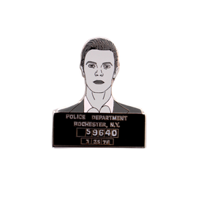 "David Bowie, ""Rebel, Rebel"" mugshot  enamel pin"