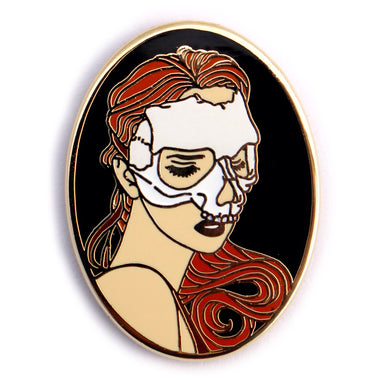 Skull Mask Girl hard enamel pin
