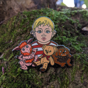 Toby with Lancelot - hard enamel Labyrinth pin