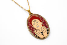 David Bowie as Ziggy Stardust enamel necklace