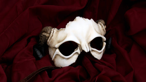 Handmade Resin Skull Mask - Ram Horned Demon