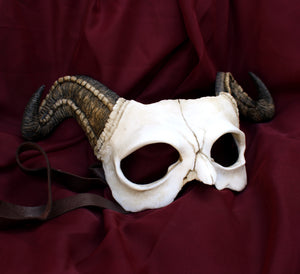 Handmade Resin Skull Mask - Long Horned Demon Skull Mask