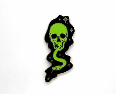 Harry Potter inspired hard enamel pin, the Glow in the Dark Mark