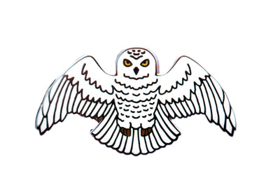 Book 7 inspired enamel pin, the Snowy Owl