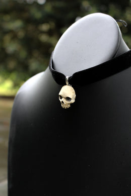 Handmade Human Skull Resin Choker Necklace