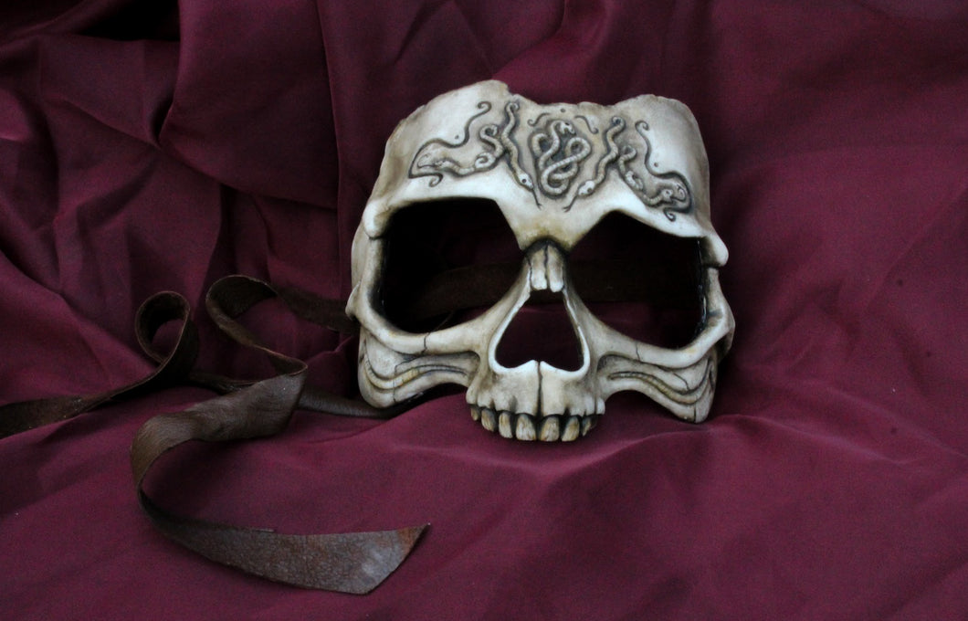 Handmade Resin Skull Mask - Carved Human Skull, the Death Eater Mask
