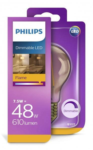 Philips 7,5W Dimbar LED - Flamma - LED-pære E27 sokkel. Fra Philips