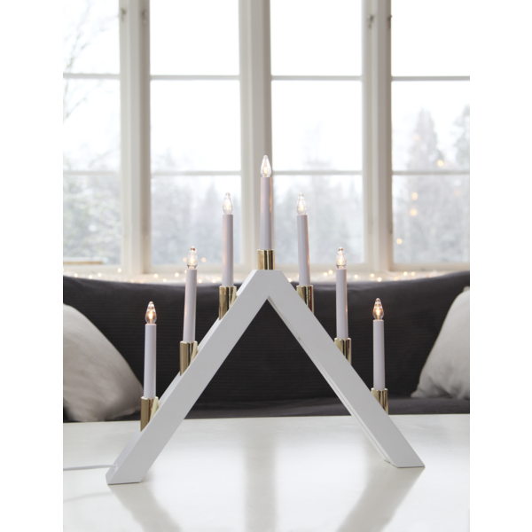 Halla adventstake - Hvit/messing - Julebelysning adventsstake. Fra Ms - belysning