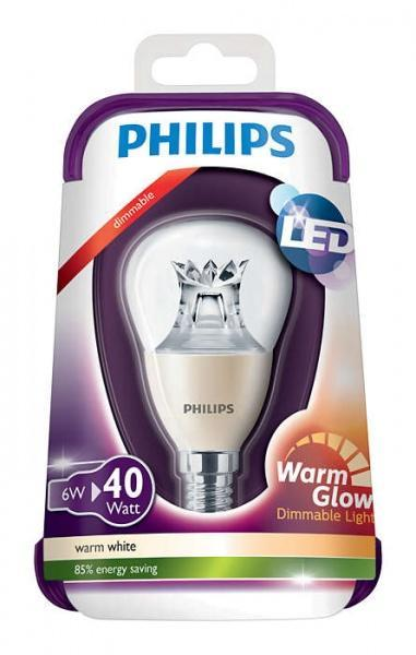 Philips 6W (40W), WarmGlow, E14, Varmvit, Dimbar