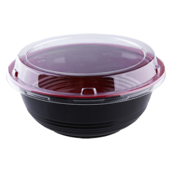 1000mL Black/Red Donburi Bowl w/ Lid 300Set/CS