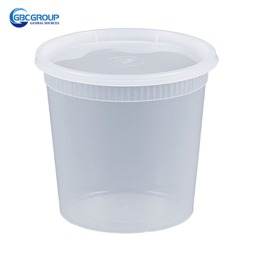 S-32 32 oz. Microwavable Clear Plastic Deli Container and Lid Combo Pack - 240/Case