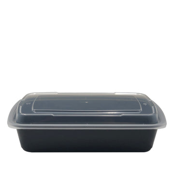 DT-28 28oz Rectangular Microwavable Container with Lid - 150/Case