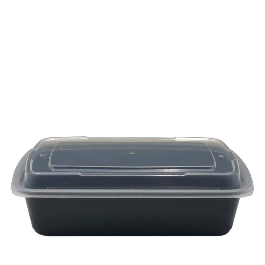 DT-32 32oz Rectangular Microwavable Container with Lid - 150/Case