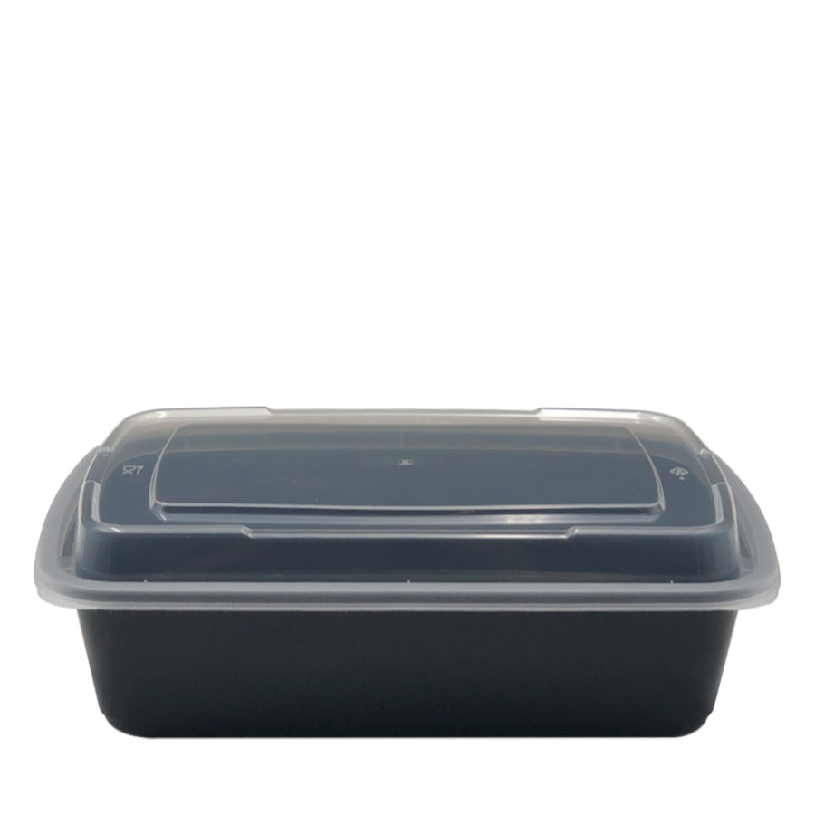 DT-38B 38oz Rectangular Microwavable Container with Lid - 150/Case