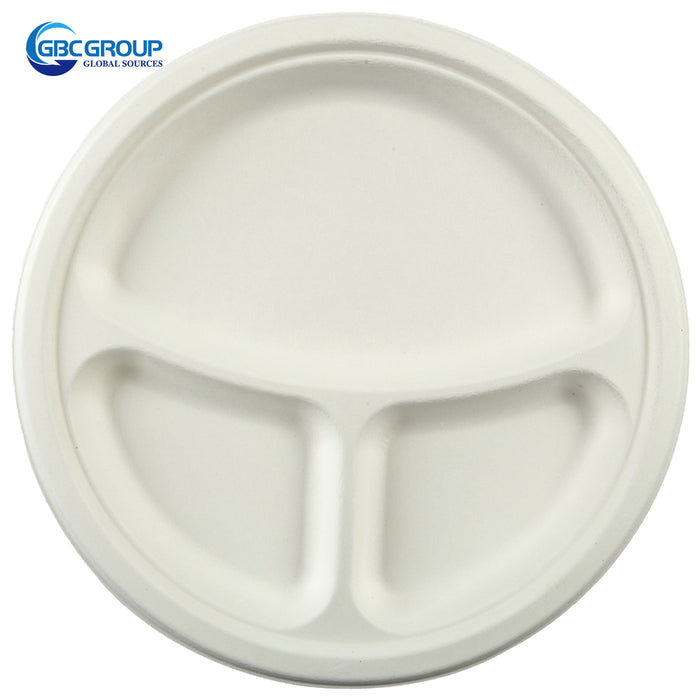 "GD-103P 10"" 3 SECTION ROUND FIBER PLATES, 500/CASE"