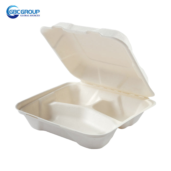 GD-773 MEDIUM SIZE 3 SECTION  FIBER HINGED LID CONTAINERS, 200/CASE