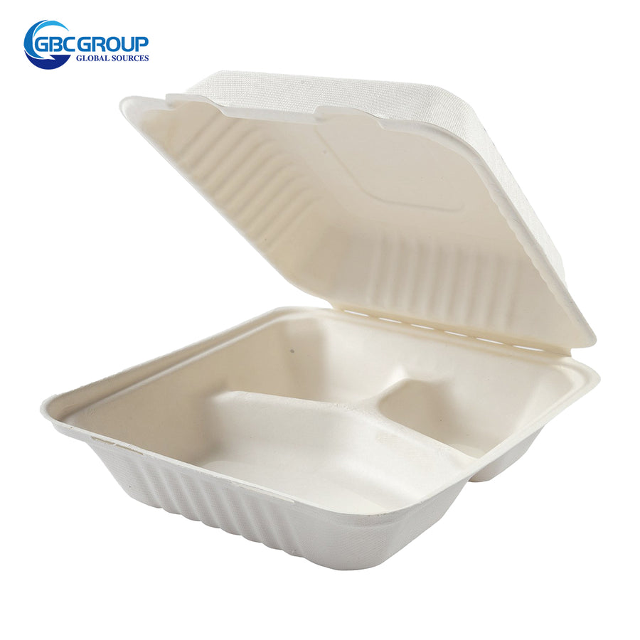 GD-883 MEDIUM 3 SECTION  FIBER DEEP HINGED LID CONTAINERS, CASE/200
