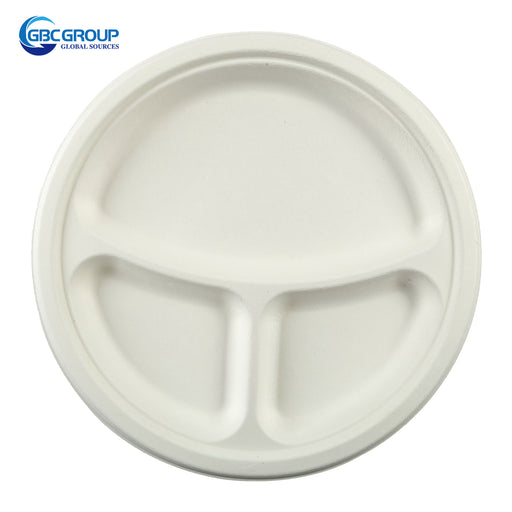 "GD-903P 9"" 3 SECTION ROUND FIBER PLATES, 500/CASE"