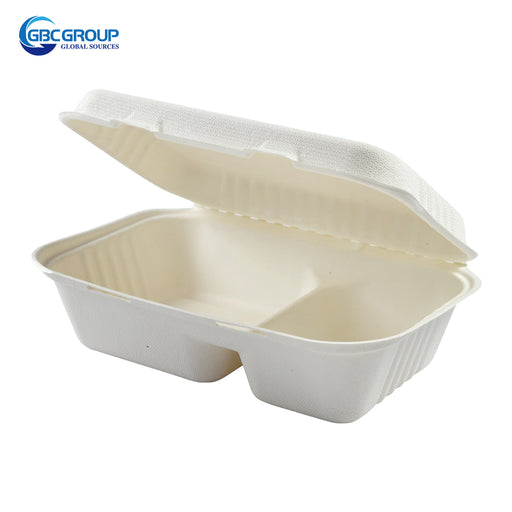 GD-9632 2 SECTION MIDIUM SIZE  FIBER HINGED LID CONTAINERS, 250/CASE