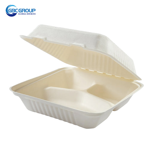 GD-993 LARGE SIZE 3 SECTION FIBER HINGED LID CONTAINERS, 200/CASE