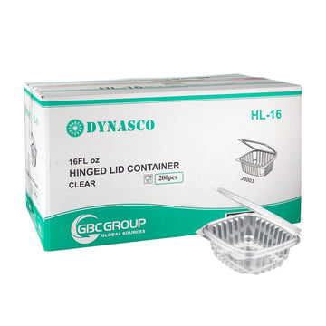 Dynasco HL-16 16oz Seal Clear Hinged Container 200/CS
