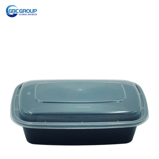 KY-28 28oz Rectangular Microwavable Container with Lid - 150/Case