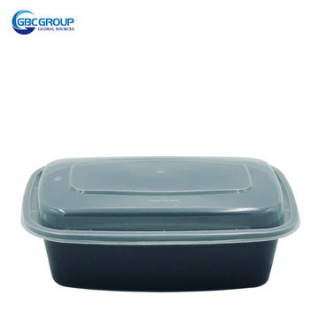 KY-32 32oz Rectangular Microwavable Container with Lid - 150/Case