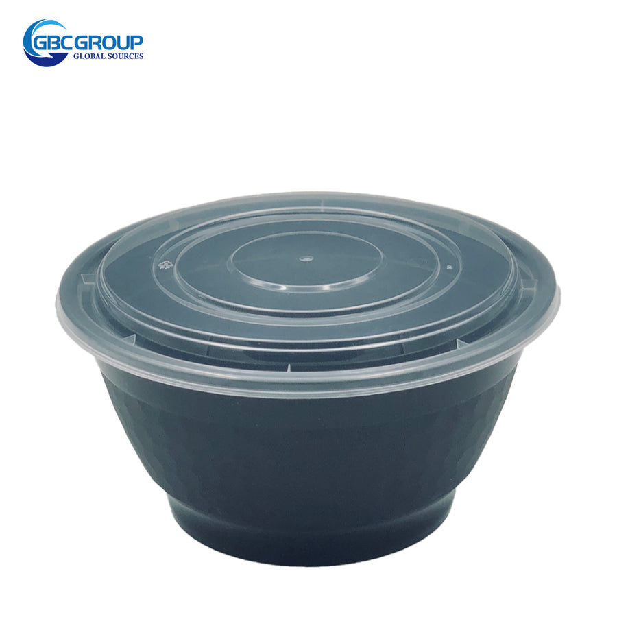 BO-36 36oz Round Microwavable Noodle Bowl With Clear Lid 150Set/CS