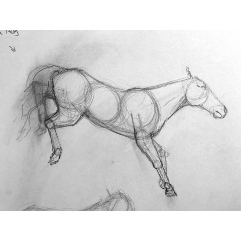 Loose drawing of a horse jumping