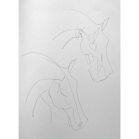 Drawing horse heads with the non-dominant hand.