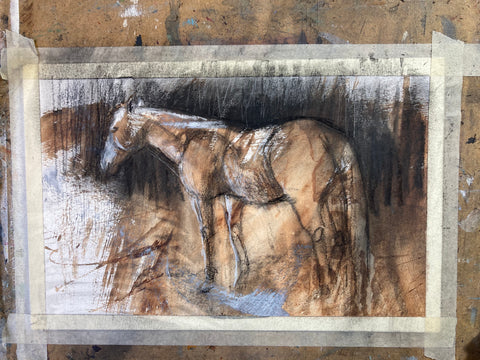 Mixed media painting of a horse standing.