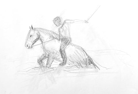 Pencil drawing of a man on a horse holding a sword.