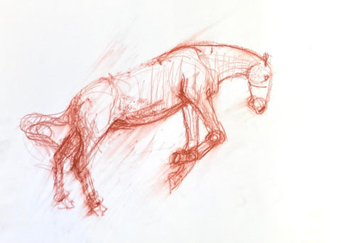Loose pastel drawing of a horse jumping.