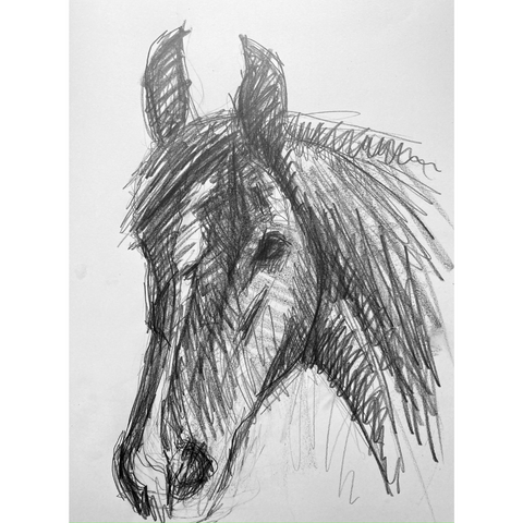 Applying gestural tone to a drawing of a horse head.