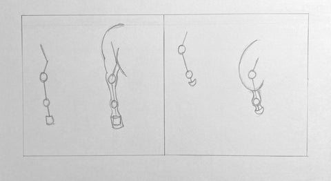 Pencil stick figure drawings of the horse's back legs in a variety of positions.