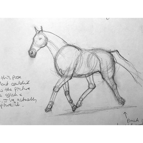 Loose drawing of a horse trotting.