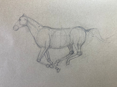 Line drawing of a horse galloping