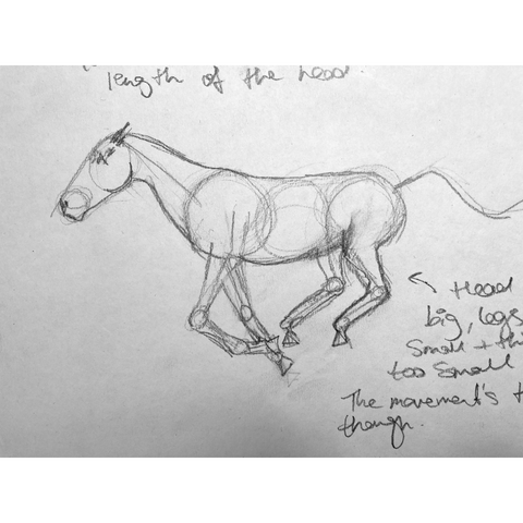 Loose drawing of a horse galloping.