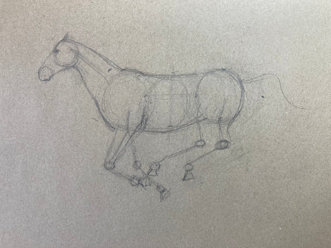 Line drawing of a galloping horse.