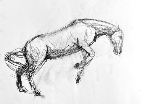 Loose pencil drawing of a horse jumping.